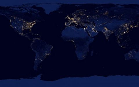 Earth during Night light spots satellite image