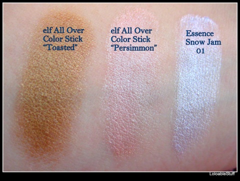 elf essential all over color stick toasted persimmon essence snow jam cream eyeshadow 01