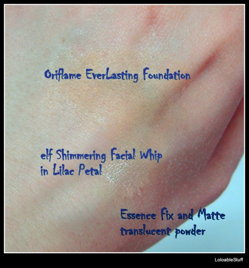 blogger hands oriflame everlasting foundaton elf shimmery lilac petal essence loose powder