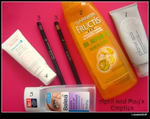 April and May's Empties, sampon crema de maini review Avon glimmerstick diamonds balea waterproof